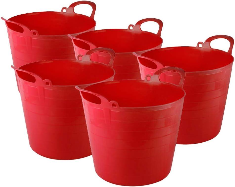 Blue X5 TheChemicalHut 26 Litre Extra Strong Flexi Tubs//Storage//Builders//Garden//Horse Buckets