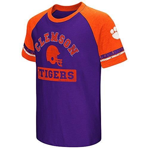 Clemson Tigers Colosseum Youth Raglan All Pro Short Sleeve Purple T-Shirt (S) (Purple Tigers Raglan Youth)
