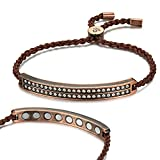 Rainso Womens Crystal Copper Magnetic Therapy Handmade Bracelet Pain Relief for Arthritis (Brown)