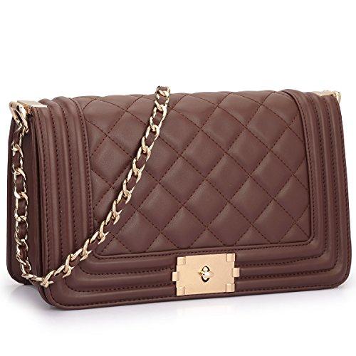 Dasein Women's Designer Quilted PU Leather Twist Lock Crossbody Bag Shoulder Bag Fashion Handbags w/ Chain Strap (Coffee) - Designer Quilted Handbags