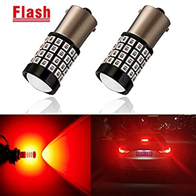 ANTLINE Newest 1156 LED Bulb Flash Strobe Red (2 Pack), 9-30V Super Bright 1600 Lumens 1141 1003 7506 BA15S 52-SMD LED Lamps with Projector for Replacement, Flashing Strobe Brake Tail Stop Light Bulbs: Automotive