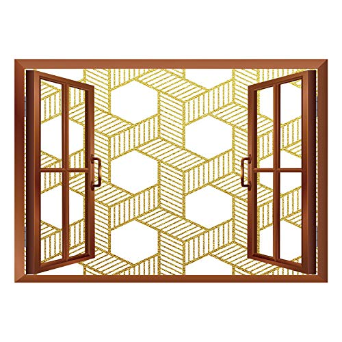 SCOCICI Removable Wall Sticker/Wall Mural/Gold and White,Geometric Lines Stripes with Crossing Like Braids Minimalist Image,Yellow and White/Wall Sticker Mural -