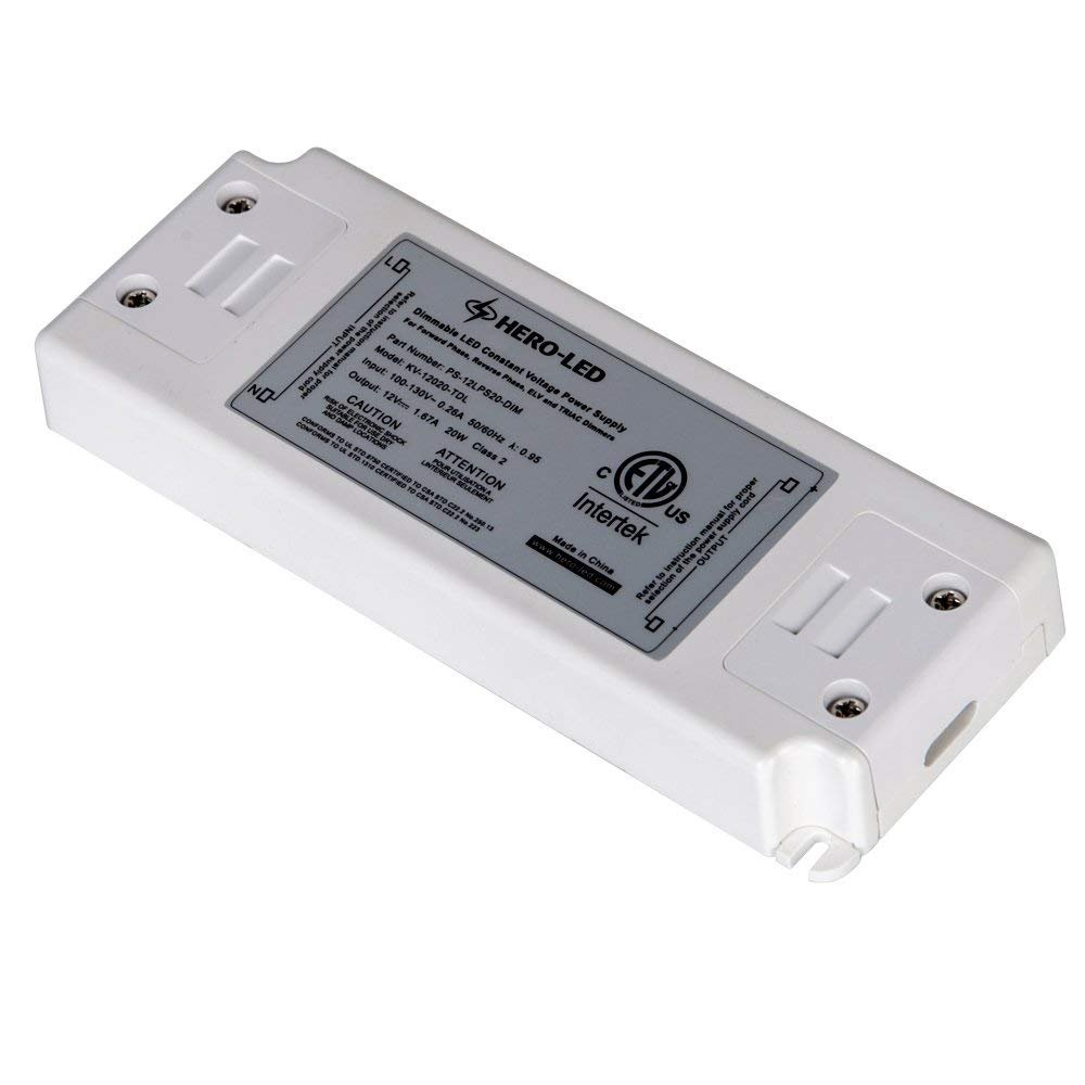 HERO-LED PS-DIM-12LPS10 ETL-listed Dimmable LED Constant Voltage Power Supply - Dimmble LED Transformer 12V DC, 0.8A, 10W