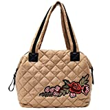 Dream Control Floral Emb Quilted Nylon Tote Shopping Shopper Shoulder Bag Nude