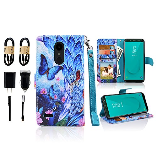 For LG Aristo 2/LG Tribute Dynasty/LG Zone 4/LG Fortune 2/Rebel 3 LTE/K8 2018/K8+ Plus/Risio 2 Wallet PU Leather Pouch Case ID Credit Card Cover Flip Folio Value Bundle (Peacock) by Mstechcorp
