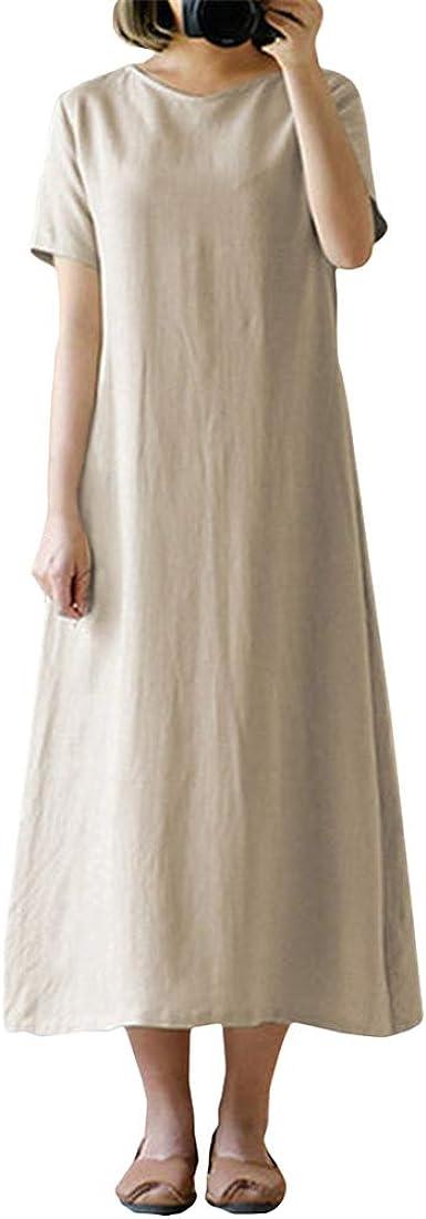 Mujer Vintage Vestido Largo Color Sólido Manga Corta Vestido ...
