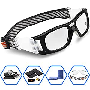 Ponosoon Sports Goggles Glasses for Basketball Football Volleyball Hockey 1827 (Black)