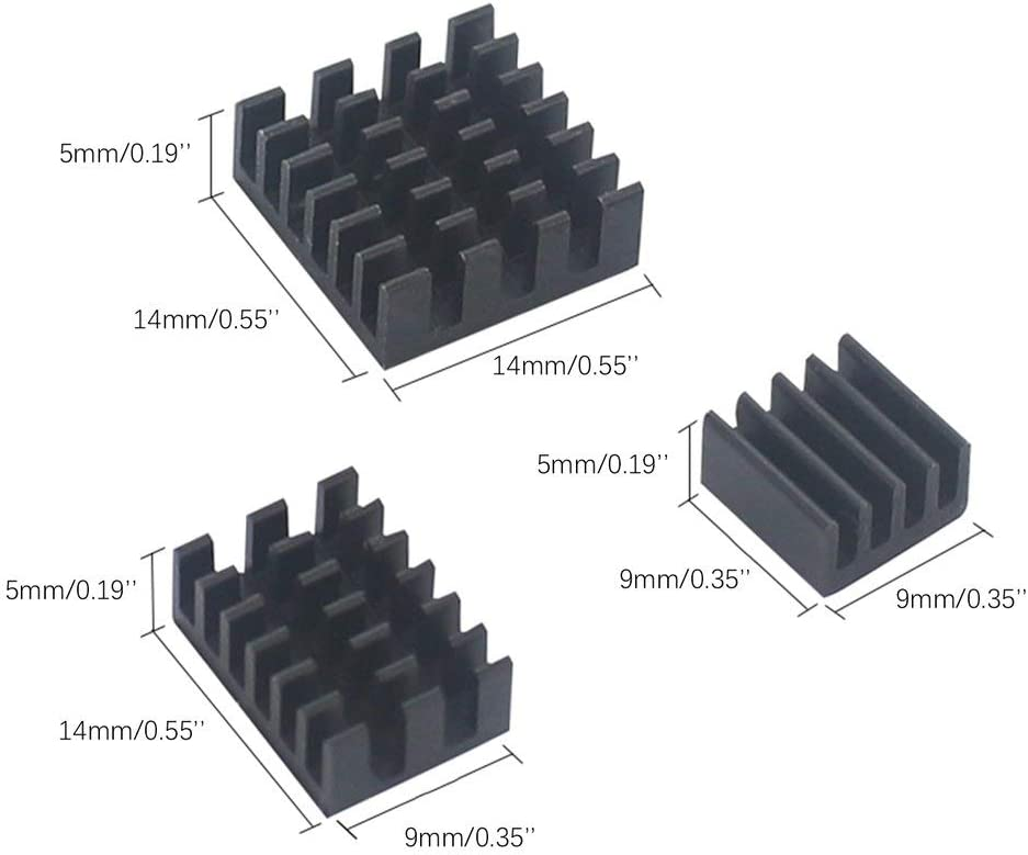 Yiyaqeanca for Raspberry Pi 4 Model B Heat Sink 3pcs Raspberry Pi Aluminum Heatsink Radiator Cooling Kit Cooler for Raspberry Pi