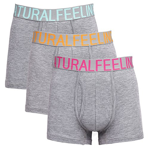 Mens Boxer Briefs Pack of 3 Mens Underwear with Contoured Pouch Opening Fly for Men, Grey With Cyan/Orange/Rosy Waistband, X-Large/39inches-41inches/99-104CM