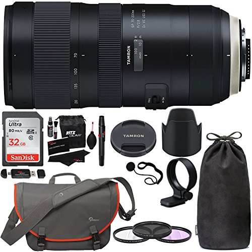 Tamron SP 70-200mm F/2.8 Di VC G2 for Nikon FX Digital SLR Camera (6 Year Tamron Limited Warranty), Sandisk 32GB Memory Card, Lowepro Passport Messenger Bag, Filters, Cleaning Kit and Accessory Bundle by Ritz Camera