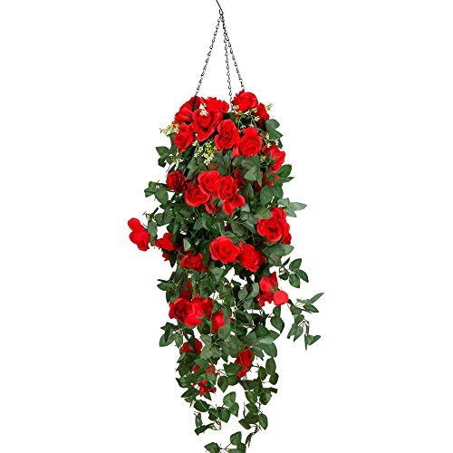 Mixinie Artificial Hanging Flower, Hanging Basket Silk Flower Rose Vine for Home Outdoor Decoration (Large Rose)