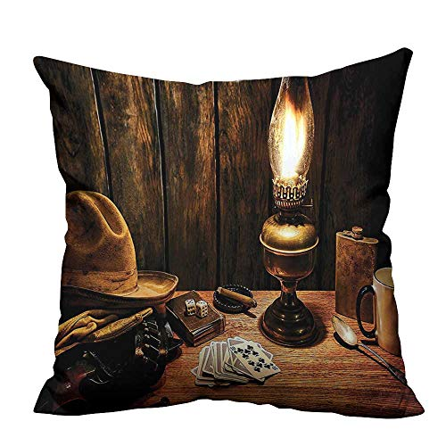 alsohome Pillow Case Cushion Cover Mystic Night in Hotel Room Dallas with Lantern Nightstand Table and Poker Card Resists Dust Mites20x20 inch(Double-Sided Printing)