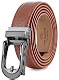 Marino Avenue Mens Genuine Leather Ratchet Dress Belt with Open Linxx Leather Buckle, Enclosed in an Elegant Gift Box - Light Tan - Style 141 - Custom Up to 44'' Waist
