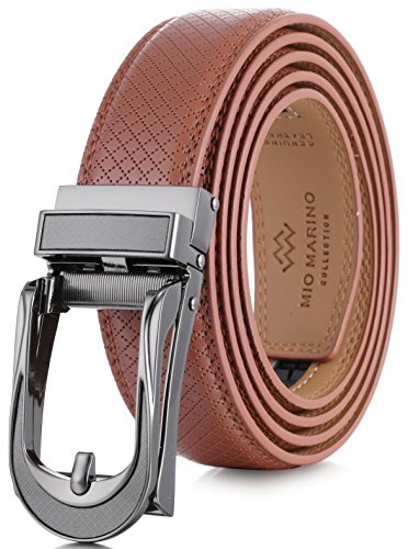 - Marino Avenue Mens Genuine Leather Ratchet Dress Belt with Open Linxx Leather Buckle, Enclosed in an Elegant Gift Box - Light Tan - Style 141 - Custom XL Up to 54