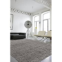 """Sweet Home Stores Cozy Shag Collection Solid Shag Rug Contemporary Living & Bedroom Soft Shaggy Area Rug, 3'3"""" L x 4'7"""" W, Grey"""