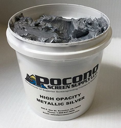 Pocono Screen Supply High Opacity Metallic Silver Plastisol Ink by Pocono Screen Supply