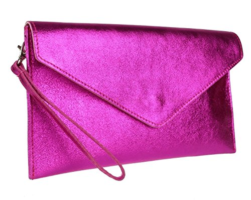 Elegant Fashions - Cartera de mano para mujer Metalic Fuchsia