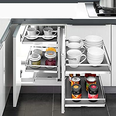 Yajun Pull Out Kitchen Storage Baskets Slide Out Drawers Corner Stainless Steel Double Storey Open Access Adjustable spacing