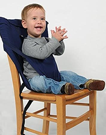 7525f4ac3cc Portable Travel High Chair Booster Baby Seat Harness Washable Cloth Packable  Sack (Navy Blue)  Amazon.co.uk  Baby