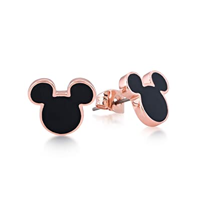 d39346ec7 Disney Mickey Mouse 90 Years Rose Gold-Plated Black Stud Earrings by  Couture Kingdom: Amazon.co.uk: Jewellery