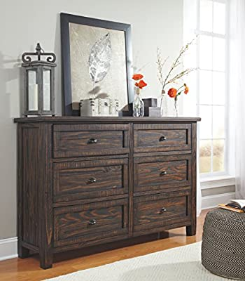 Ashley Furniture Signature Design - Trudell Chest of Drawers - Dramatic Pine Dresser - Dark Brown