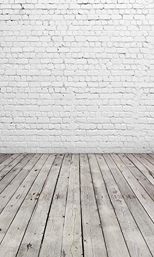 Allenjoy 6X8ft White Brick Wall Gray Wood Floor Photo Background Portrait Photography Backdrops Product Portrait Shoot Photo Sudio Booth Props
