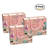 Gift Bags Kraft Paper Wrapping Packaging Treat Bags 7.4''x3.1''x5.5'' 6 Pcs