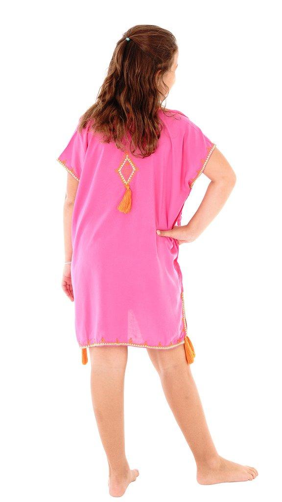 SHU-SHI Girls Toddler Swimsuit Cover up Tunic Dress Caftan Fuchsia 2-12 Years