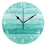 Ladninag Wall Clock Teal Turquoise Blue Wood Deck Silent Non Ticking Decorative Round Digital Clocks for Home/Office/School Clock