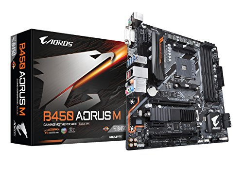 - GIGABYTE B450 AORUS M (AMD Ryzen AM4/M.2 Thermal Guard/HDMI/DVI/USB 3.1 Gen 2/DDR4/Micro ATX/Motherboard)