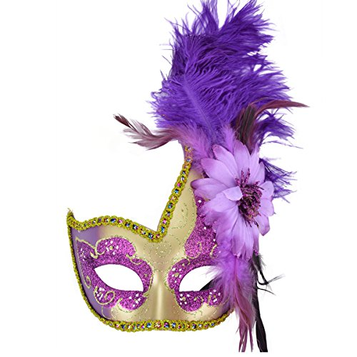 Venetian Masquerade Masks Mardi Gras Costume with Feather (Adult Purple Feather Carnival Mask)