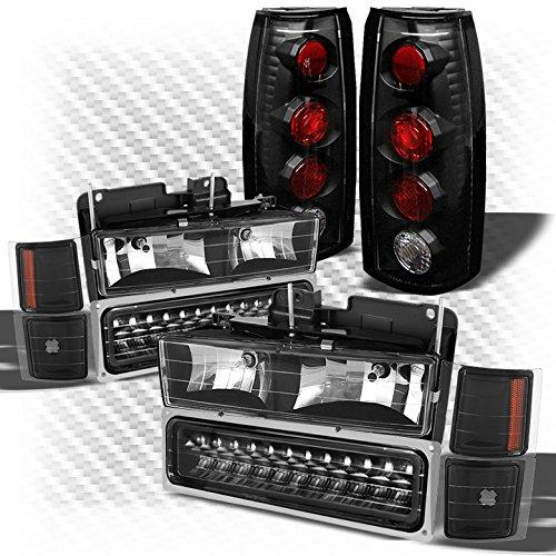 For 1992-1999 Chevy Tahoe Suburban Black Headlights w/LED Bumper + Altezza Style Tail Lights 1993 1994 1995 1996 1997 (Chevy Gmc Tahoe Headlight Headlamp)