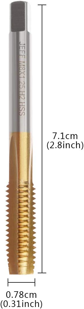 YXQ M6x1mm Tap Machine Titanium plating Metric Right Hand Thread Straight Flute Taps Taper and Plug 6Pcs