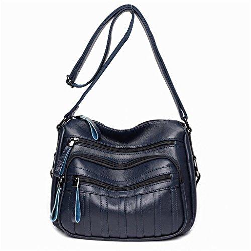 NVBAO Borsa donna Borsa a tracolla diagonale Singolo Borsa a tracolla PU moda in pelle morbida Shopping Multi-zip e scompartimento, black blue