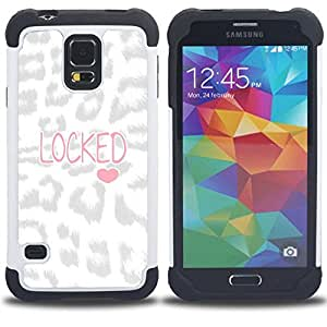GIFT CHOICE / Defensor Cubierta de protección completa Flexible TPU Silicona + Duro PC Estuche protector Cáscara Funda Caso / Combo Case for Samsung Galaxy S5 V SM-G900 // Heart Leopard Pattern Love Text //