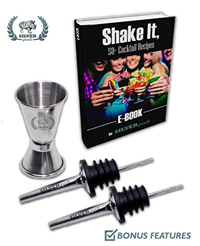 Cocktail Shaker Set - Professional Martini Bartender Kit - 24 Ounce Stainless Steel Shaker with Built-in Strainer and Lid, Double Jigger, 2 Liquor Pourers, 50 Cocktail Recipes eBook - by SILVERgrade by SILVERgrade (Image #7)
