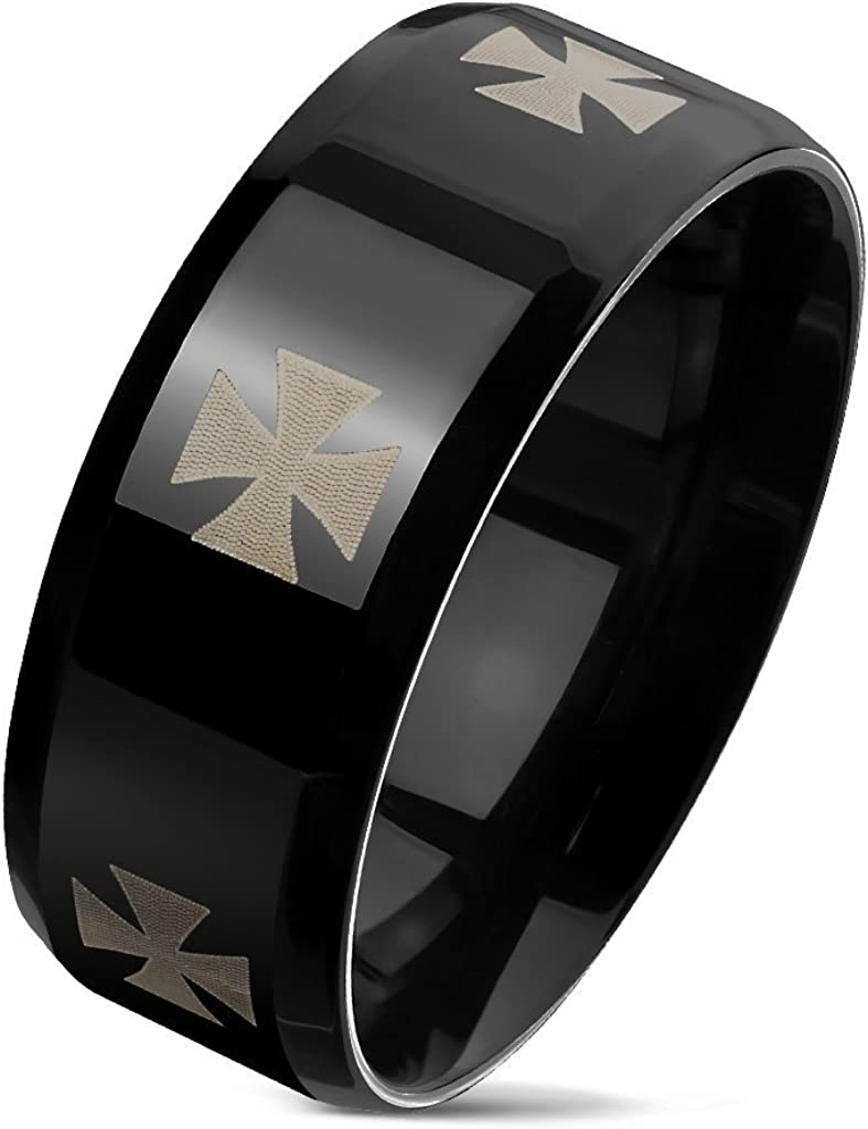 S/&H JEWELRY Iron Cross Engraved Around Black PVD Beveled Edges Stainless Steel Rings