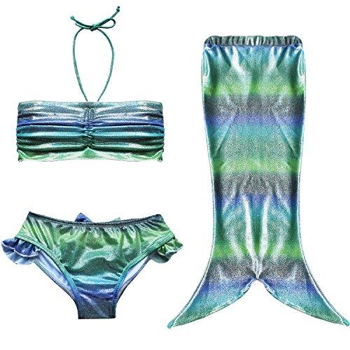 [FOUNDO Little Girl 3pcs Princess Swimmable Mermaid Tail Bathing Bikini Swimsuit] (Kiddie Costume For Sale)