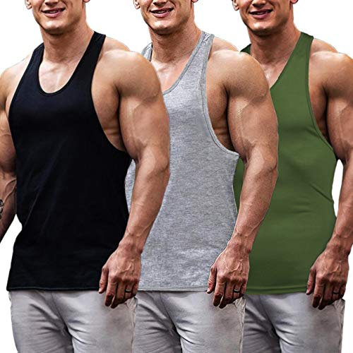 COOFANDY Men's Muscle Shirts 3 Pack Gym Workout
