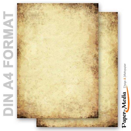 Paper-Media Lot de 20 feuilles de papier à lettre de format A4 Effet vieilli 90g/m²