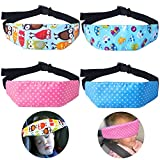 4 Pcs Toddler Car Seat Infants and Baby Head Support - Car Seat Neck Relief Head Strap - Safety Stroller Adjustable Head Holder Sleep Belt