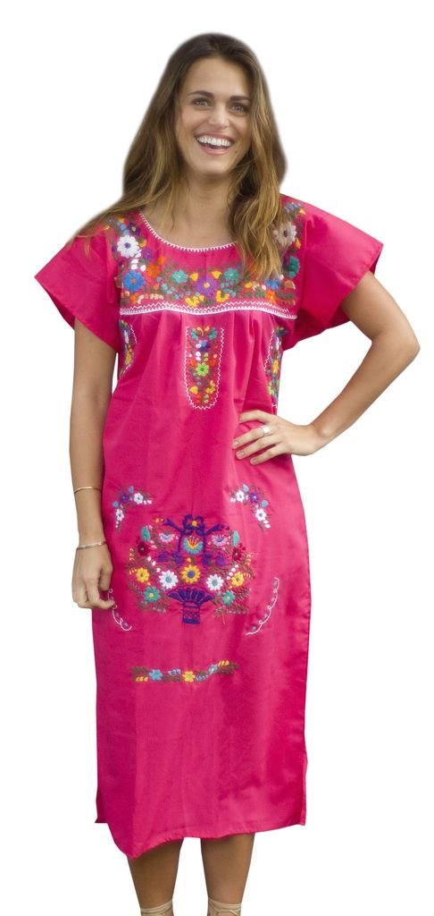 Liliana Cruz Embroidered Mexican Peasant Dress (Pink size Medium)