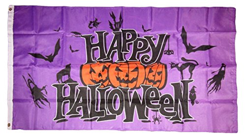 3x5 Happy Halloween Purple Jack o Lanterns Ghost Bats Flag 3'x5' Brass Grommets Vivid Color and UV Fade Resistant Canvas Header and polyester -