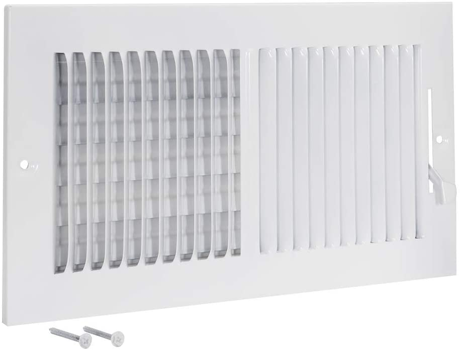 EZ-FLO 61612 Two-Way Sidewall/Ceiling Register, 12 inch x 6 inch Opening, White