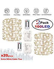 Murelan Fairy Lights 32.8ft 100 LED String Lights Battery Operated with Remote Waterproof Copper Wire Lights for Indoor Decorative Lights (Warm White)