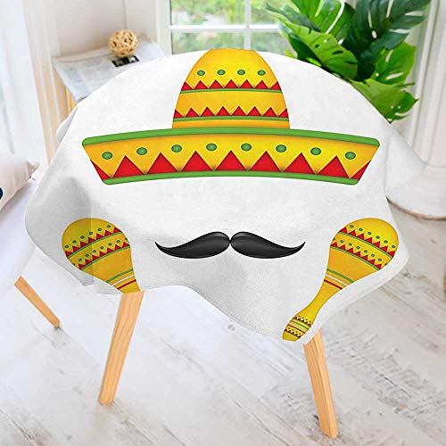 aolankaili Round Premium Tablecloth for Wedding/Banquet/Restaurant- Famous Centerpiece Icons Sro Moustache Rumba Shaker Meso Yellow Polyester Fabric Table Cloth 67