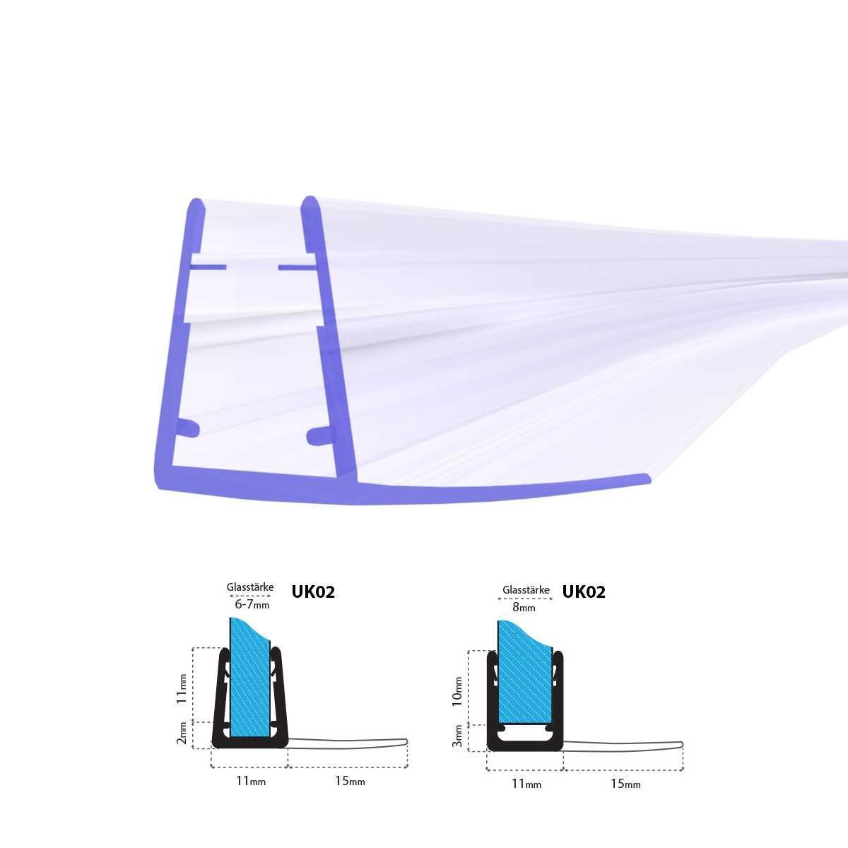 STEIGNER Guarnizione per Doccia 200 cm UK02 Doccia Curva Cabina Doccia Tonda Guarnizione Vetro Semicircolare 6 mm/7 mm/8 mm Spessore Guarnizione di Ricambio Piegata