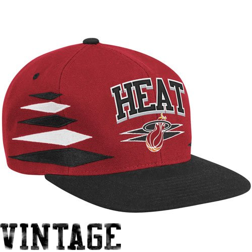 Mitchell & Ness Miami Heat Red/Black Diamond Adjustable Snapback Hat/Cap (Mitchell Ness Diamond)