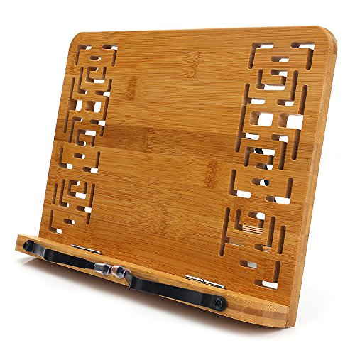 BamBoo Book Stand - wishacc Reading Rest holder Cookbook Cook Stand/Foldable Tablet PC textbook/Music Document Stand/Desk Bookrest with Retro Hollow Elegant Pattern
