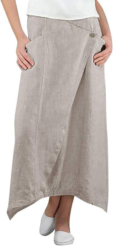 POTO Falda Larga de algodón y Lino, para Mujer - Beige - XX-Large: Amazon.es: Ropa y accesorios